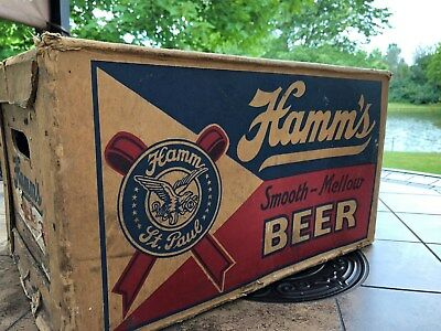 "Vintage Hamm's ""Smooth and Mellow"" Beer bottle box, dated 1939! Cool!"