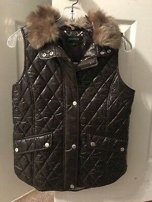 Talbots Quilted Down Puffer Vest with Fur Chocolate Brown Size Size New