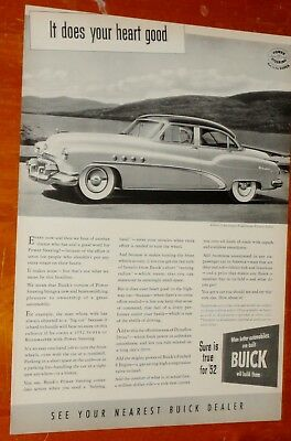 1952 Buick Roadmaster 4 Door Sedan Ad - Retro American 50S Classic Car Vintage