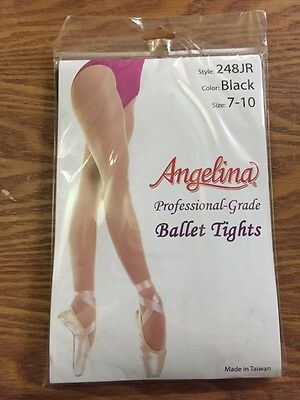 Ballet Dance Tights Size 7-10 Girls Teen NEW NWT 248JR Angelina Black Nylon Lycr