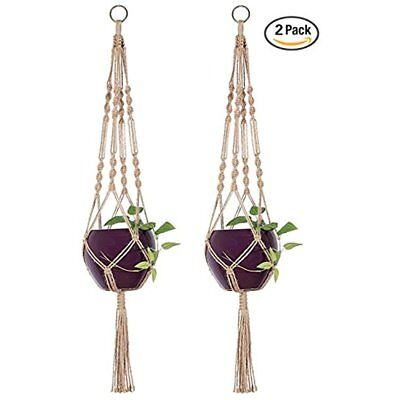 2 Hanging Planters Pcs Macrame Hanger Indoor Outdoor Basket Jute Rope 4 Legs 40