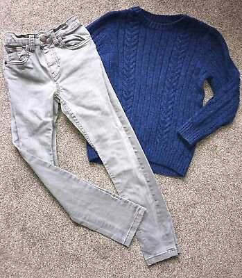 Boys Next Outfit Age 7 Years Skinny Grey Jeans And Blue Sweater