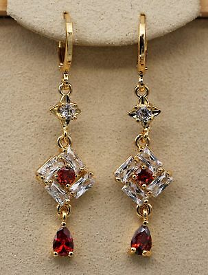 18K Yellow Gold Filled - 1.8'' Hollow Square Ruby Topaz Zircon TearDrop Earrings