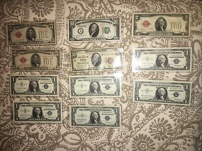 11 US Notes Currency Collection $10 Gold $5 $2 Red Seals  $1 Silver Certificates