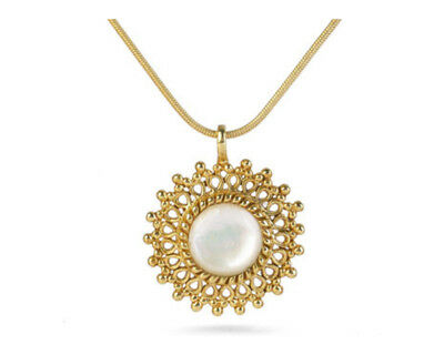 Gold Finish Filigree Mother of Pearl Pendant Necklace - Pricegems Museum Store