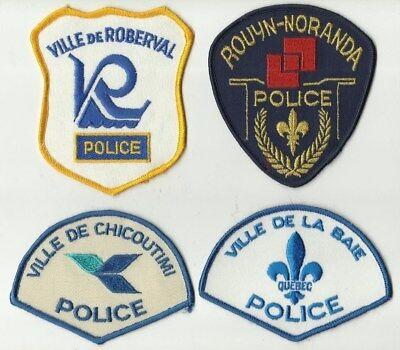 La Baie / Chicoutimi / Roberval / Rouyn-Noranda (QUEBEC) Police Patches