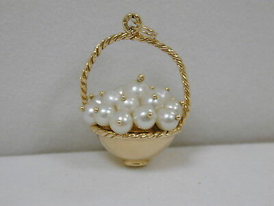 Vintage 14K Yellow Gold Bountiful Basket Of Natural Pearls Charm~Estate Fine
