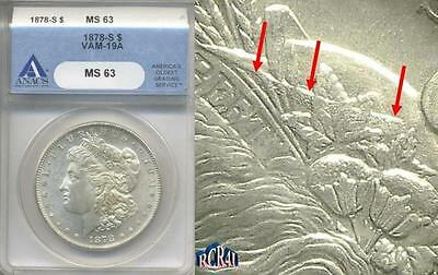 "Ms-63 1878-S ""vam-19A, Cap Band Gouge, Over Polished Rev.rarity-6"" Anacs Morgan"