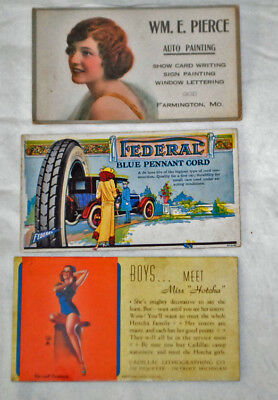 Three Vintage Advertising Ink Blotter Car Federal Cord, Pierce Auto Painting,