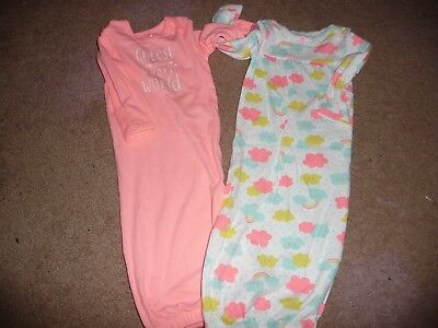 NEW NWT Carters girls size Newborn 2 pack gowns clouds/rainbows/cutest