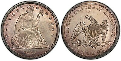 1862 Seated Dollar PCGS MS-63 Rare!!