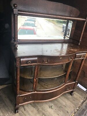 Antique Tiger Oak Sideboard Mirror Gallery Triple Curved Glass Lion Paw Foot