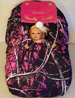 Infant Car Seat Canopy Cover Muddy Girl Fleece Camo Baby & Pink Minky Embrodery