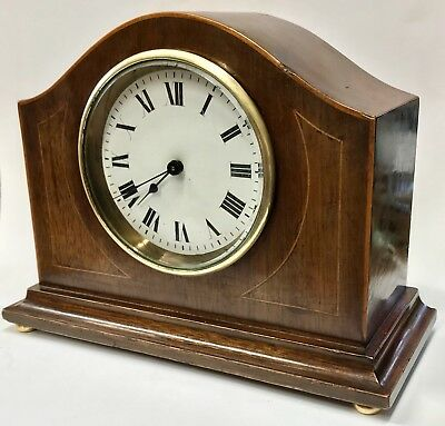 Lovely French Arched Top Inlaid Mahogany Mantel Clock