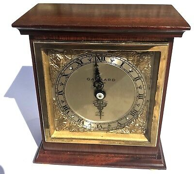 Lovely GARRARD Elliott London Mantel Clock Brass Dial Mahogany