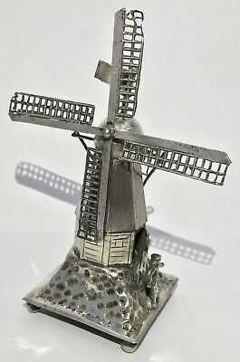 Lovely Solid Silver Dutch Windmill Articulated Figure Antique Vintage 1927