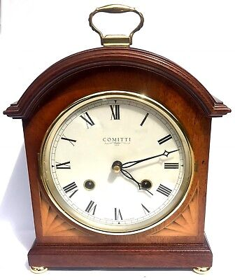 Comitti of London The Regency  Bell Strike Mantel Clock Inlaid Mahogany 8 Day