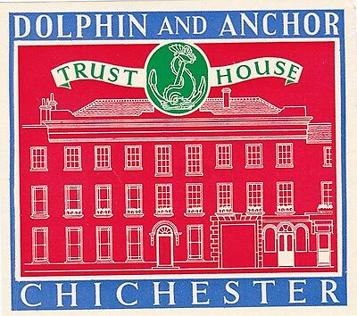 Warwicck Arms Hotel ~WARWICK ENGLAND~ Old TRUST HOUSE Luggage Label 1955 c