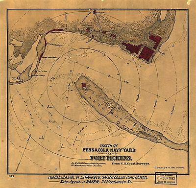 12x18 inch Reprint of American Military Map Pensacola Navy Yard Fort Pickens