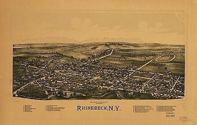 12x18 inch Reprint of American Cities Towns States Map Rhinebeck New York