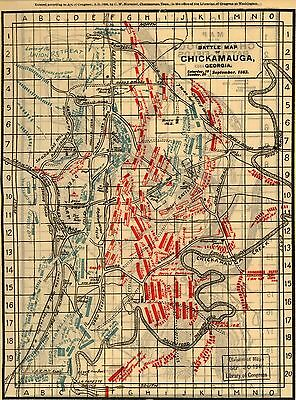 12x18 inch Reprint of American Military Map Battle Field Chickmauga Georgia