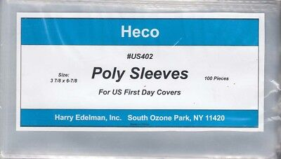 100 Poly Sleeves US First Day Covers FDC US402 By Heco For Size 6 - 3 7/8x6 7/8