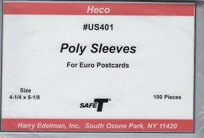 100 Poly Safe T Sleeves Euro Postcards 4 1/4 x 6 1/8 Protection Bags HECO US401
