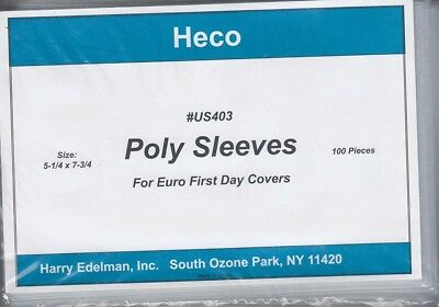 100 Poly Sleeves For Euro First Day Covers FDC 5.25X7.75 Inch Protection US403