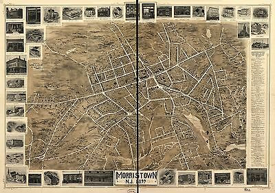 12x18 inch Reprint of American Cities Towns States Map Morristown New Jersey