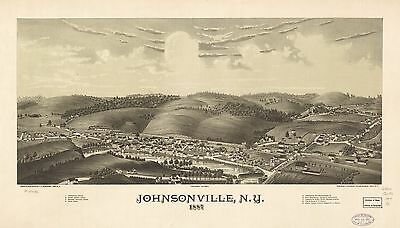 12x18 inch Reprint of American Cities Towns States Map Johnsonville Ny
