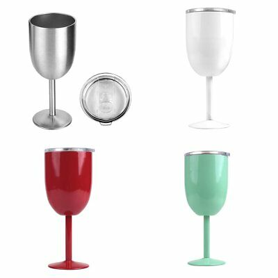 Goblets Stainless Steel Double Walled Wine Glass with Removeable Sliding Lid XX