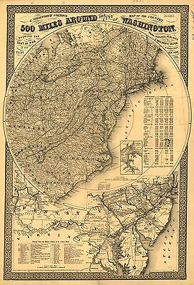12x18 inch Reprint of American Cities Towns States Map North USA Canada