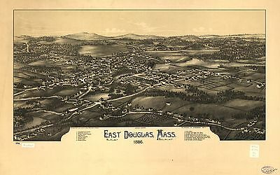 12x18 inch Reprint of American Cities Towns States Map East Douglas Mass