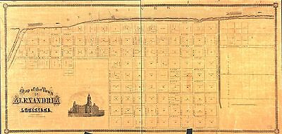 12x18 inch Reprint of American Cities Towns States Map Alexandria Louisiana