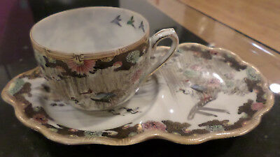 Antique Japanese Porcelain Cup And Saucer