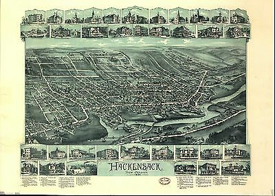 12x18 inch Reprint of American Cities Towns States Map Hackensack New Jersey