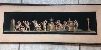 "Antique A Bisogno Italy Watercolor Cherub Angel  Painting ""Putti At Work"" 1800's"