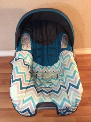 EVENFLO Nurture Baby Car Seat Cover Cushion Canopy Set Part Gray Green Blue