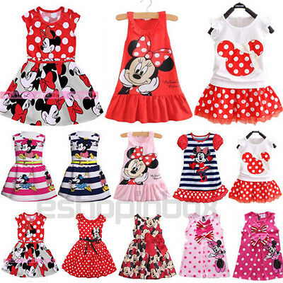 Baby Kids Girls Cartoon Minnie Mouse Party Mini Dress Sleeveless Summer Clothing