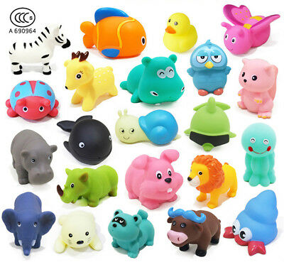 10 Pcs Baby Bath Toy Environmental Animal Bathtub Toy Baby Shower Toy with Sound
