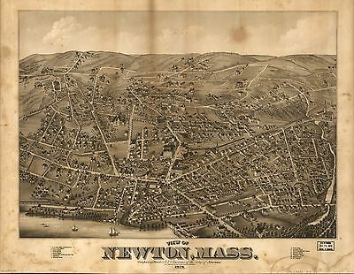 12x18 inch Reprint of American Cities Towns States Map Newton Mass