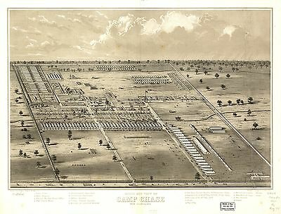 12x18 inch Reprint of American Cities Towns States Map Camp Chase Columbus Ohio