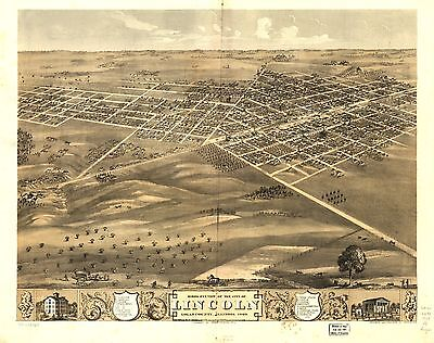 12x18 inch Reprint of American Cities Towns States Map Lincoln Illinois