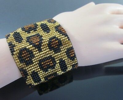 "Huichol Beaded Bracelet Jaguar Art Mexican Handmade 2.1""W Cuff Ethnic Jewelry"
