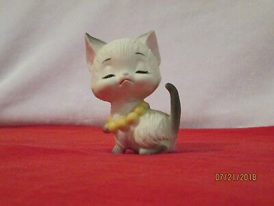 Lefton Vtg White Kitty Cat Figurine With Yellow Pearls- 3 Inches Tall-Porcelain!