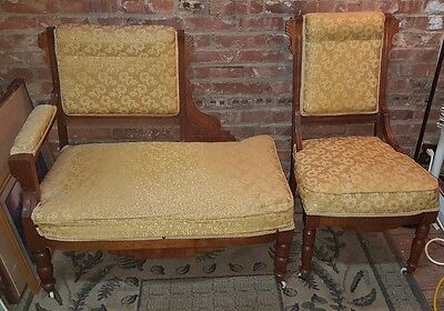 Antique 3 Foot Hand Carved Walnut Settee Recamier Loveseat w Matching Chair