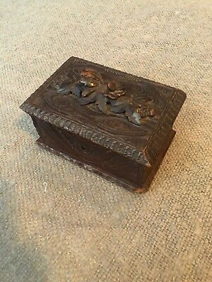 Original Antique Carved Oak Wooden Box C1880