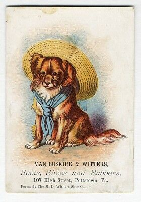 Pottstown PA SHOES BOOTS Victorian Trade Card DOG in HAT Van Buskirk & Witters