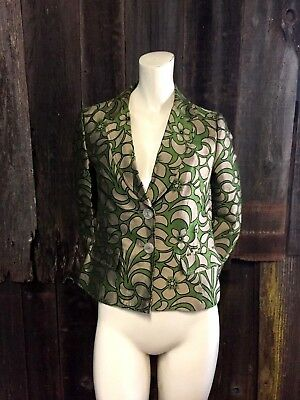 Women's ETRO Multicolor Suit Jacket Blazer Green Floral Size 42 SMALL US 6