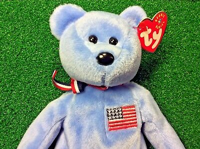 "NEW Retired Ty Beanie Baby ""America"" USA Red Cross Plush Toy MWMT"